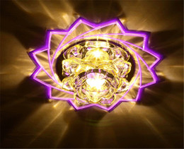 Wholesale Led Lotus Crystal Lamp - 3W led lotus flower ceiling light crystal lampshade luminaire fixtures for foyer balcony corridor modern brief crystal lamps