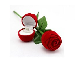 Wholesale Rose Jewelry Boxes - Red Rose Ring Box For Engagement Wedding Earrings Pendants Jewelry Case For Wedding Gift Box 10Pcs Lot 2016 March Style