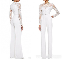 Wholesale Black Satin Pants Women - 2017 new White Jumpsuit With Long Sleeves Lace Embellished Women Formal Evening Wear Custom Made Mother Of The Bride Pant Suits 034