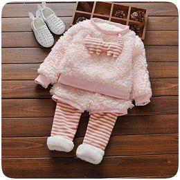 Wholesale Girl Animal Fur Winter Coat - Girls Fur 2Suit 2017 New Autumn Winter Christmas Flower Long Sleeve Fur Coat Top with Pants 2Sets YAN-767
