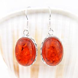 Wholesale Earring Amber - Free Shipping--2PCS Lot 925 Silver fashion women silver Fire amber brazil citrine earring E0292