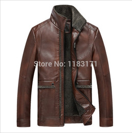 Wholesale Mens Add Jackets - Fall-Winter Warm Men Leather jacket Mens Clothing Casual Add wool Thicken Genuine jackets coat Brand luxury jaqueta couro masculina