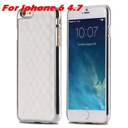 Wholesale Retro Ex - Wholesale-Newest Luxury Retro Gold PC Plating Linear EX Case For Iphone 6 4.7inch Grid Sheep Leather Case Cover For Iphone6 Cell Phones