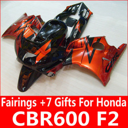 Wholesale Honda Cbr F2 Fairings - Burnt orange black fairing kit for Honda CBR600 F2 1991 1992 1993 1994 orange fairings CBR 600 F2 91 92 93 94