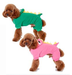 Wholesale Dinosaur Sweaters - New 100% Cotton Material Dinosaur Style Autumn Winter Use Dog Sweater Comfortable Clothes Blue Green and Pink Color