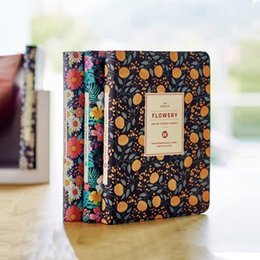 Wholesale Diary Book Flower - Wholesale- New Arrival Cute PU Leather Floral Flower Schedule Book Diary Weekly Planner Notebook School Office Supplies Kawaii Stationery