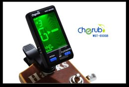 Wholesale Digital Lcd Acoustic Guitar - Cherub WST-650GB LCD Clip-On Mic Digital Tuner For Acoustic Electric Guitar Bass Tuners Free Shipping