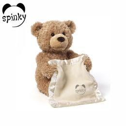 Wholesale Free Easter Music - Free Shipping Peek a Boo Teddy Bear Play Hide And Seek Lovely Cartoon Stuffed Teddy Bear Kids Birthday Gift 30cm Cute Music Bear Plush Toy