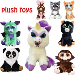 Wholesale Wholesalers For Baby Stuff - One second Change face Feisty Pets Animals Plush toys cartoon monkey Stuffed Animals for baby Christmas gift 11 colors C3070