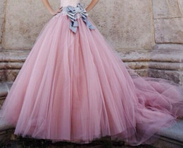 Wholesale White Fairy Ball Gowns - 2015 Lovely Pink Ball Gown Floor Length Fairy Princess Tulle Skirt Ruched Bouffant Dresses for Women Soft Gauze Women Skirts with Bow Sash
