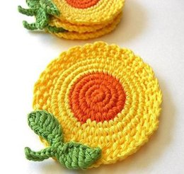 Wholesale Make Table Mats - 2016 Free shipping cotton COLORFUL Sunflower Doily hand made Crochet cup mat,coaster table mat 30 PCS LOT