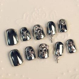 Wholesale Fake Nails Girls - Wholesale- 24pcs Fake Nails False Cool Punk Skeleton Skull Decoration for Girls Lady Full Nails Tips Art sticker A3