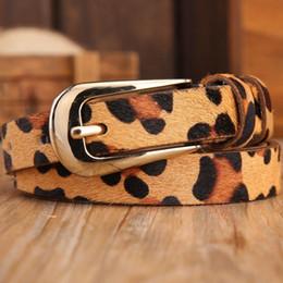 Wholesale Leopard Printed Belts - Horse hair sexy leopard print wild thin belts for women New 2016 brand genuine leather fashion belt female dress strap designer