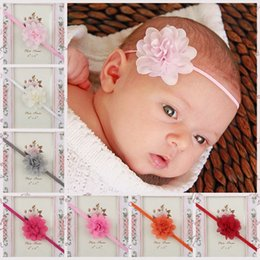 Wholesale Thin Elastic Baby Headbands - Baby Headbands Mini Chiffon Flower Headbands Thin Elastic Bands Toddler Girls Headbands Newborn Headbands Hair Band 20pcs