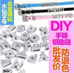 Wholesale Sliding 8mm Charm - Hole Length 8MM 130Pcs Lot Charms DIY Slide Letters With Rhinestone Pet Dog Collars Silver Color Jewelry Finding Components Charms
