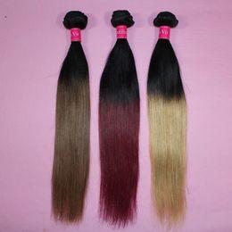 Armadura brasileña de cabello recto Ombre Trama de cabello humano Color de dos tonos 100 Paquetes de cabello peruano 1B / 27 1B / 30 1B / 99j 1B / Rojo desde fabricantes