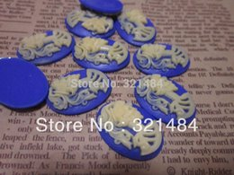 Wholesale Skull Cameo Cabochon - Vintage 18x25mm resin flat back beads skull cameo oval cabochon for pendnat bezel blank jewelry making FSC005