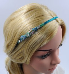 Wholesale Hair Bows For Women - Women Crystal Headband with Rhinestone Bow tie Handmade Beading New Fashion Hair Accessories High Quality For Wholesale