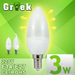 Wholesale E27 3w Led Candle - LED Candle Bulb Light E14 E27 B22 E12 3W CREE 2835 SMD Unique Design LED Candle Lamp High Brightness LED Indoor Lighting