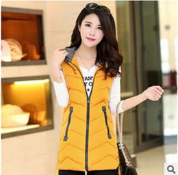 Wholesale Hooded Vests For Women - Wholesale-Women Winter Vest 2016 Brand Vest Jackets For Women Long Cotton Vests Hooded Jacket Sleeveless Plus Size Coat Female Q234