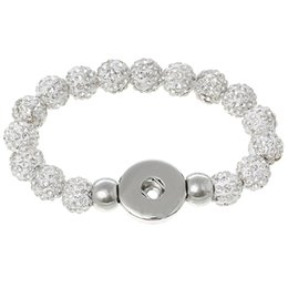 Wholesale Long Ring Tones - Snap Jewelry Beads Bracelets White Silver Tone Clear Rhinestone Fit Snap Buttons 21cm long,Snap Hole:6mm,1 Pc 2015 new
