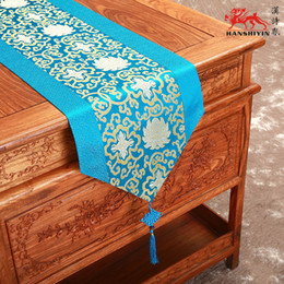 Wholesale Gold Tablecloths Wedding - Classic Luxury China knot Damask Printed Table Runners Wedding Party High End Rectangle Tablecloth Fashion Decor Bed Runner multicolor