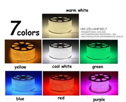 Wholesale High Power Rgb Led Strip - 20M high voltage 220V Waterproof SMD 5050 Flexible LED strip rope stripe tape Light 60leds m warm white RGB+ Power plug