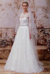 Wholesale Dress Wedding Aplique - Sheer Crew Neck Long Sleeve Wedding Dresses Backless Sweep Train Aplique Beaded Custom Made Wedding Gowns Modest Bridal Dresses 2015