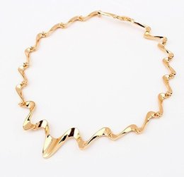 Wholesale Twisted Chunky Choker Necklace - 2015 New Fashion Lightning Choker Gold Silver Wave Chunky Collar Statement Necklace For Women