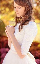 2019 A Line Vestidos de novia Angel Bow Princess Vestidos de novia Media manga Modesta Alta calidad Hermoso Cinturón hecho a medida Tulle Lace Venta caliente desde fabricantes