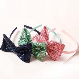 Wholesale Solid Hairbows - Kids Hair Bows Baby Hair Accessories Girls Hairbows Hair Accessory 2016 Paillette Sequin Hair Bows Childrens Accessories Hair Things C19348