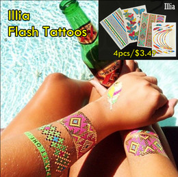 Wholesale tattoo flash free shipping - 4pcs lot Illia Flash Tattoos Non-toxic Temporary Tattoos Hot Sale Metallic Jewelry Tattoo! Sexy Body Tattoos With Free Shipping!