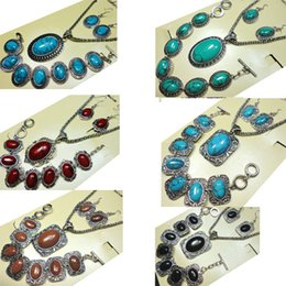 Wholesale Silver Emerald Pendants - NEW HOT Freeship Fashion Jewelry Hot 8 styles major Vintage Antique Silver Turquoise Jewelry Set Necklace Pendant For Women Jewelry Sets BK