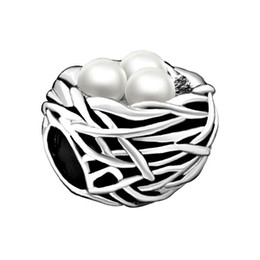 Wholesale Large Pearls Beads - Fashion women jewelry bracelet Valentines Day gift white pearl bird nest European spacer beads large hole charms for beaded bracelets