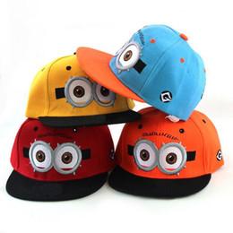 Wholesale Minion Snapback Kids Hat - 10pcs Despicable Me Minions MLB snapback hats 2015 summer kids baseball caps Adjustable Fashion Boy Girl Hip-hop hat 4 colors H1024