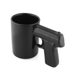 Wholesale Coffee Cup Pistol Handle - New Black Fashion Cool Unique Creative Pistol Gun Handle Ceramic Coffee Mug Drinking Tea Cup Gift Home Bar