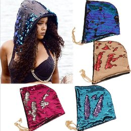 Wholesale Tall Casual Dress - Mermaid Sequin Hats Magical Reversible Sequin Cap Halloween Dress Up Color Changing Hat Costume Caps Head Hood Novelty Headwear YYA834