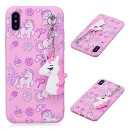 Wholesale Huawei Phone Covers - Unicorn Pendant Cartoon Cute 3D Soft Silicone Phone Cover Case For Iphone x 7 6 Samsung Galaxy S8 Plus Note 8 Huawei P10