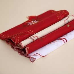 Wholesale Patterned Table Cloth - Santa Claus Pattern Tablecloth Embroidered Hollowed Out Design Satin Table Runner For Christmas Wedding Holiday Decor Favor 17 8hb B