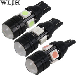 Wholesale Hyundai Santa - WLJH T10 led W5W Wedge led 5050 SMD led lamp with lens High Power Signal Tail Turn Bulb Light Super brightness