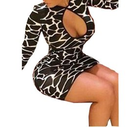 Wholesale Mini Crew Neck Leopard - Fashion New 2016 Sexy Women Leopard Party Dress Long Sleeve O Neck Clubwear Hollow Out Bodycon Package Hip Mini Dresses Vestidos