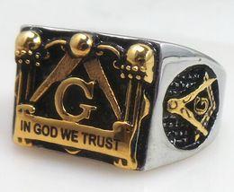 Wholesale Wholesaler Masonic - free shipping! freemason masonic ring for men,IN GOD WE TRUST master signet ring in stainless steel , customer ring design
