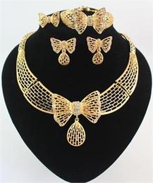 Ожерелье кольцо набор бабочка онлайн-Высокое качество 18K позолоченный Кристалл бабочка африканских ювелирные изделия ожерелье браслет кольцо серьги свадебные ювелирные наборы