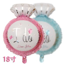 Wholesale Diamond Ring 18 - 18'' Diamond Ring Color Balloon Wedding Gift Favors I DO Foil Balloon Romantic Party Decoration SD479