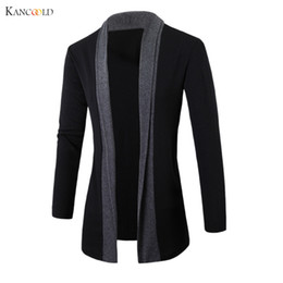 Wholesale Long Sweater Trench Coat - Wholesale- 2017 men Jacket Winter Jackets mens Fashion Clothing Trench Coat Sweater Slim Long Sleeve Cardigan Warm coats male Outwear GBY0h