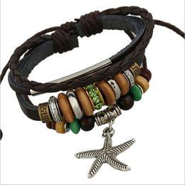 Wholesale Beaded Wooden Bracelet - Fashion Starfish Charms Bracelets Infinity Wooden Beaded Green Rhinestone Alloy Circle Leather Bracelets For Men Jewelry