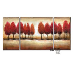 Wholesale three piece painting tree - 3 Pieces Abstract Red Tree Hand Painted Landscape Oil Painting Modern Home Wall Decoration No Framed