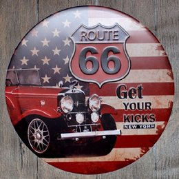 Wholesale Wall Poster New York - Route 66 Get your Kicks New York Round Retro Embossed Tin Sign Poster Wall Bar Restaurant Garage Pub Coffee Home Decor Christmas Gift