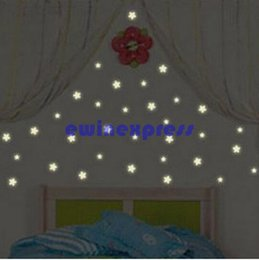 Wholesale Glow Wall Stars - 100 Pcs Glow in the Dark Stars Moon Space Stellar Wall Decals Stickers Decal Baby Kids Gift Nursery Room