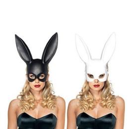 Wholesale funny halloween costumes women - 1PC Fashion Women Girl Party Rabbit Ears Mask Black White Cosplay Costume Cute Funny Halloween Mask Decoration